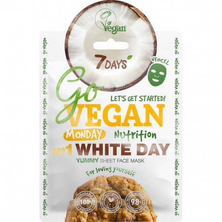 7DAYS GoVEGAN Yummy Masque soin visage en tissu Monday WHITE DAY (Lundi journée