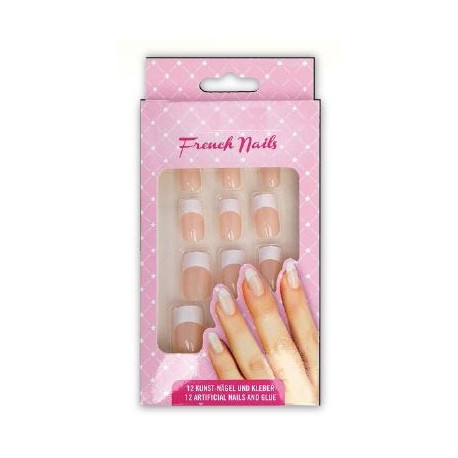 Faux Ongles avec colle 'FRENCH MANUCURE NATURE'